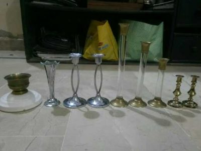 beautiful brass and steel candle stand for sale