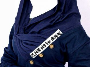 Navy Platted Button Neck Ladies Fleece Pullover
