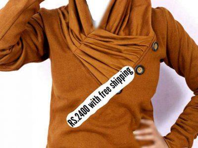 Mustard Platted Button Neck Ladies Fleece Pullover FS-2555