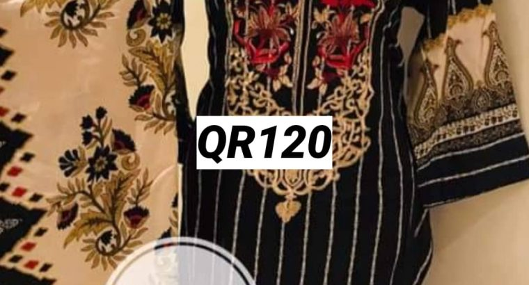 Stitched lawn embroidered